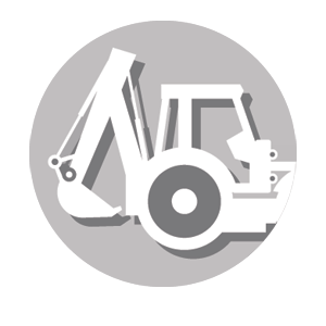 Graphic icon of backhoe representing construction services.