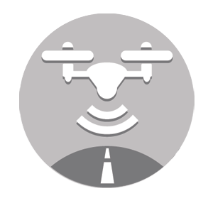 Graphic icon of aerial drone representing mobile and aerial mapping services.